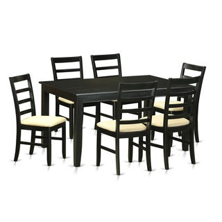 Traditional Black Finish Solid Rubberwood 7-Piece Dining Set with Kitchen Table and Six Chairs