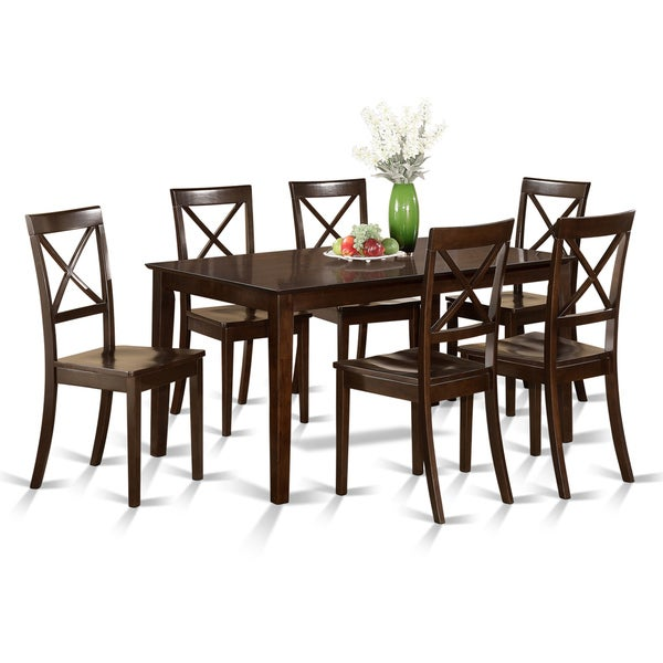 cappuccino rubberwood 7 piece formal dining room set with dining table and 6 chairs free. Black Bedroom Furniture Sets. Home Design Ideas
