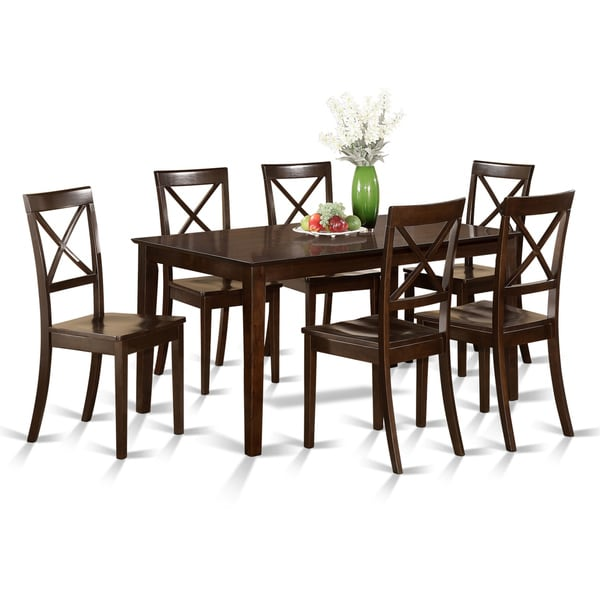 shop cappuccino rubberwood 7 piece formal dining room set with