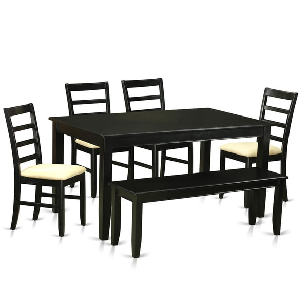 Ordinaire Traditional Black Finish Solid Rubberwood 6 Piece Dining Set With Table And Four  Dining Chairs