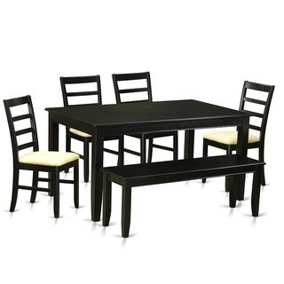 Traditional Black Finish Solid Rubberwood 6-piece Dining Set with Table and Four Dining Chairs and Bench