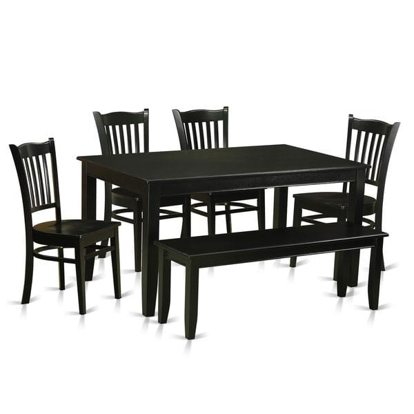Black Rubberwood 6-piece Dining Room Set