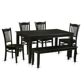 Black Rubberwood 6-piece Dining Room Set