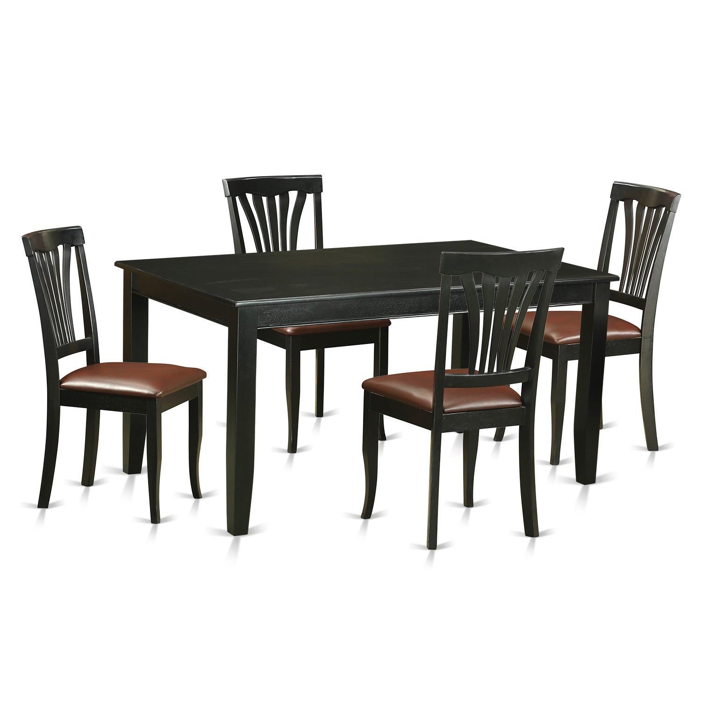 Modern Black Finish Solid Rubberwood 5-Piece Dining Set w...