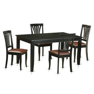 Modern Black Finish Solid Rubberwood 5-Piece Dining Set with Rectangular Table and Four Faux-Leather Upholstered Chairs