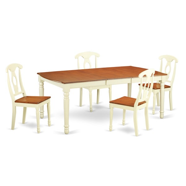 Doke5 cream off white rubberwood 5 piece dining room set for Dining room tables home goods