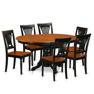 Traditional Black Finish Solid Rubberwood 7-piece Dining Set with Table and Six Chairs