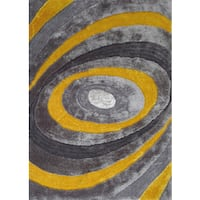 Rug Addiction Silver/Grey/Yellow Viscose Shag Area Rug - 4' x 5'4