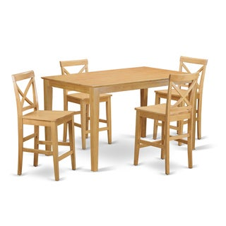 Traditional Oak Solid Rubberwood 5-Piece Dining Set with Gathering Table and Counter-height Chairs