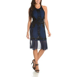 Lotus Threads Women's Blue, Red, or Yellow Polyester Flounce Bottom Dress