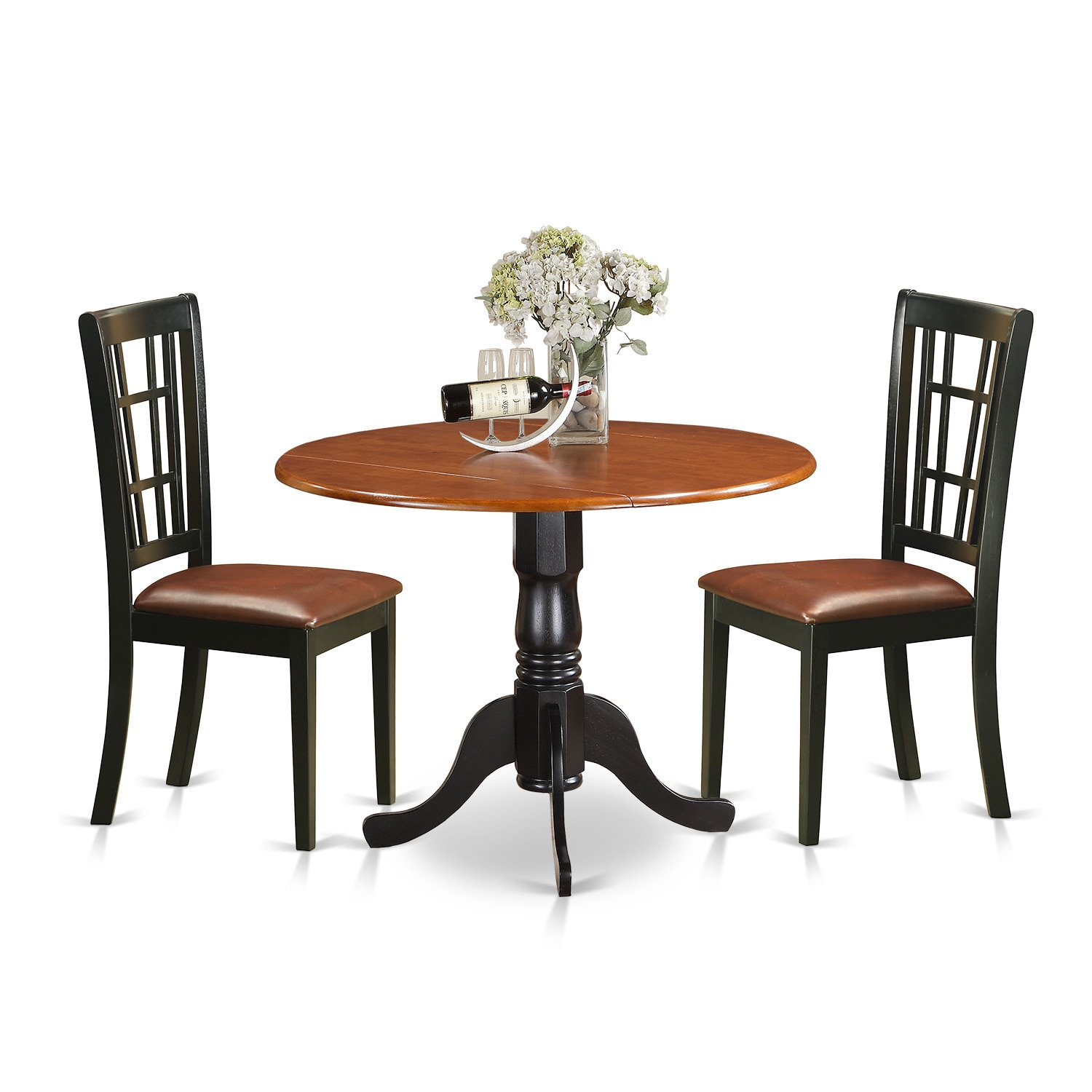 3-piece Dublin Kitchen Table Set with Dining Table and 2 Solid Wood Kitchen  Chairs