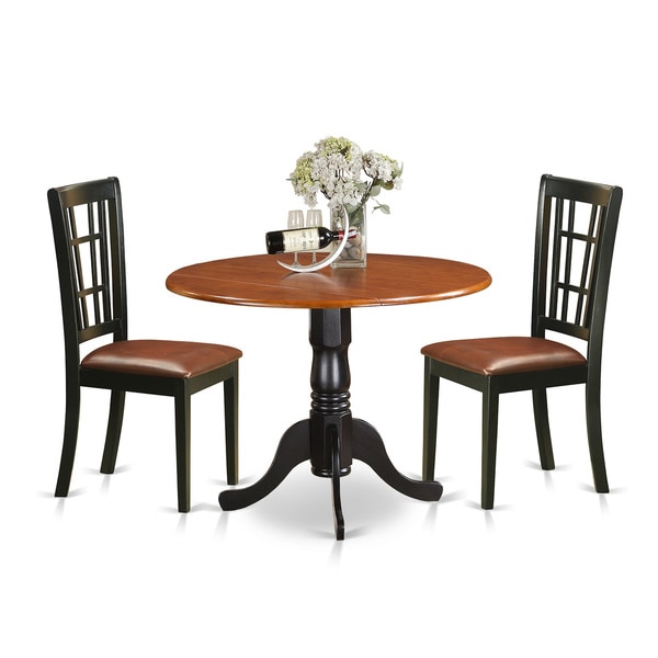 Black And Cherry Round Table And Two Dinette Chair 3 Piece: Shop 3-piece Dublin Kitchen Table Set With Dining Table