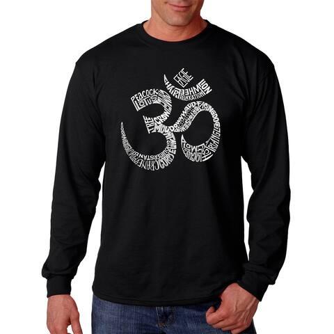 Poses 'Om' Men's Black Cotton Long Sleeve T-shirt