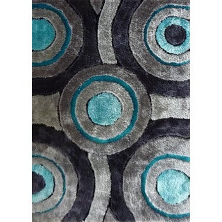 Silver/Grey/Turquoise/Black Handmade Shag Area Rug (4' x 5'4)