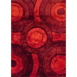 Handmade Red/Burgundy/Black Shag Area Rug (4' x 5'4)