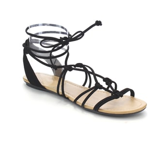 Cityclassified Women's Black/Grey/Tan Faux Leather Lace-up Knotted Ankle Wrap Flat Sandals