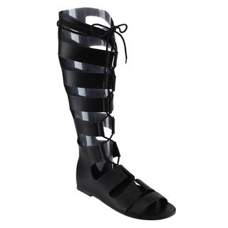 Soda IB22 Women's Lace-up Gladiator Strappy Caged Zipper Flat Boot Sandals