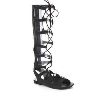 Soda IA02 Women's Faux Leather Strappy Lace-up Cut-out Back-zip Flat Sandals