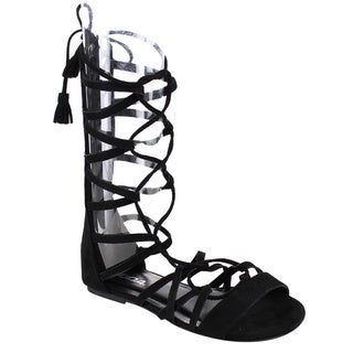 Soda Women's IA13 Lace-up Strappy Tassel Criss-cross Gladiator Flat Sandals
