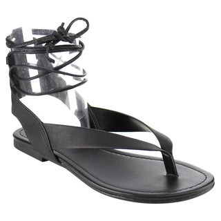 Soda Women's IA41 Strappy Cut-out Back Lace-up Thong Sandals