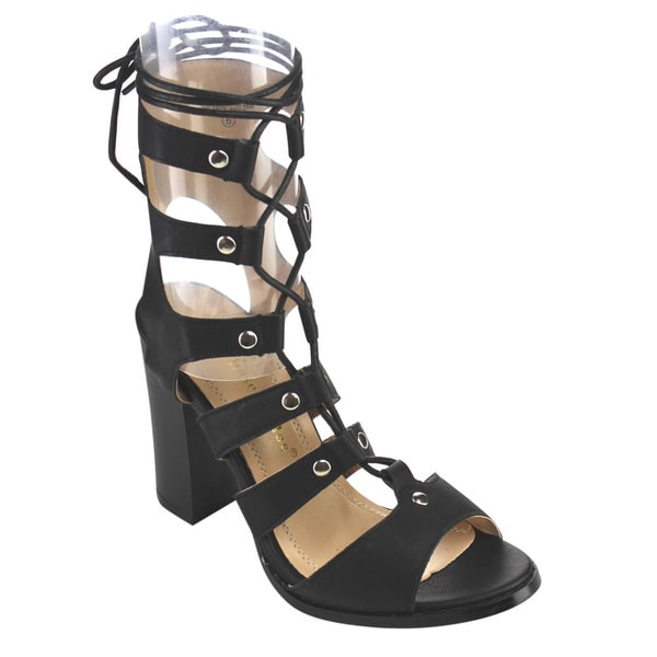 Chase & Chloe CE35 Women's Chunky Cut-out Gladiator Sandals 19249858