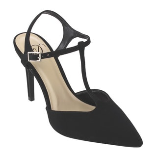 Love Delicious IA35 Women's Black T-strap Ankle-buckled Stiletto High Heel Dress Pumps