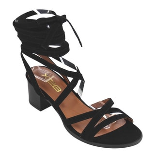 X2B Women's DD16 Tan/Black/Beige Faux Leather Block Stacked Heel Cross Criss Lace Up Gladiator Ankle Sandals