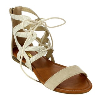 Reneeze AC45 Women's Lace-up Ankle Strap-back Zipper Flat Sandals