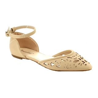 Beston Women's Faux-nubuck Ankle-strap Closed-back Cutout Flat Sandals