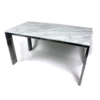 Hans Andersen Home Dining Table with Carrara Marble and Stainless Steel Frame