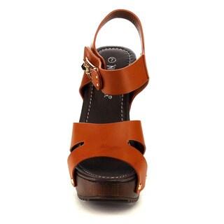 Nature Breeze EA63 Women's Platform Cut-out Studded Ankle Strap Sandals