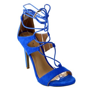 BAMBOO SUGARLOVE 56M Women's Stiletto Heel Strappy Gladiator Lace-up Calf Sandal