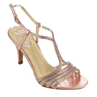 ITALINA Women's Ankle Strap Glittering Rhinestones Dress Heels