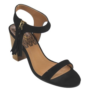 QUPID Women's Black Faux Leather High Heel Sandals