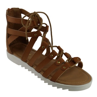 BAMBOO ROCKET-06S Women's Gladiator Style Lace-up Strappy Calf Sandals