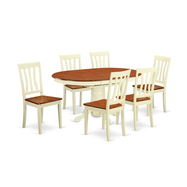 Traditional White Finish Solid Rubberwood 7 Piece Dining Set With Dining  Table And Six Chairs