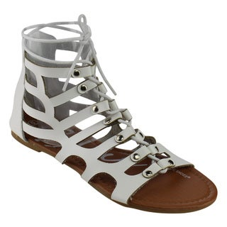 Blue Suede Shoes Women's White Faux Leather Gladiator Flat Sandals