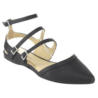 CityClassified Women's D'Orsay Black Faux-leather Cutout Flat Sandals