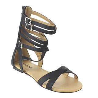 Soda Women's IB66 Gladiator Criss Cross Strappy Back Zipper Flat Sandals