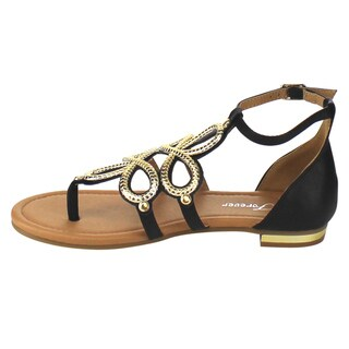 Forever Women's GB91 Ankle Closure Gladiator Flat Thong Sandals