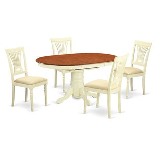 AVPL5-WHI Cream/Cherry Rubberwood 5-piece Dinette Set Including Dinette Table and 4 Dinette Chairs
