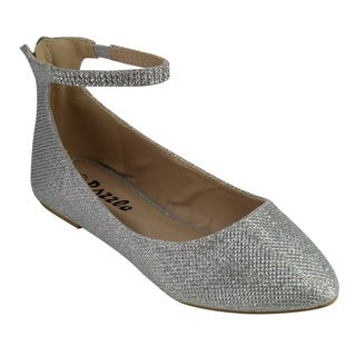 Bella Luna Women's GC71 Faux Leather Ankle Strap Rhinestone Zipper Ballet-style Flats
