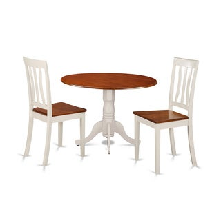 Dublin Dining Set with 3 Pieces with 2 Solid Wood Chairs in Buttermilk Finish