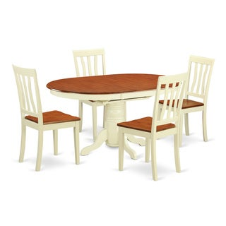 Cream/Cherry Finished Two-tone Solid Rubberwood 5-Piece Dining Set