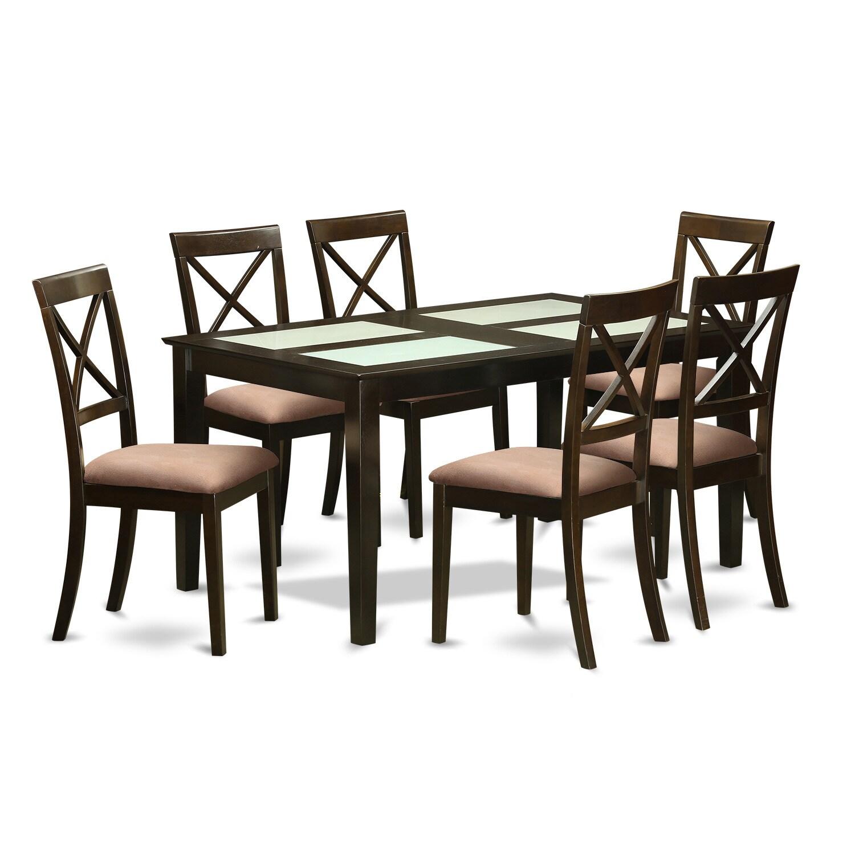 Modern Black Finish Solid Rubberwood 7-Piece Dining Set w...