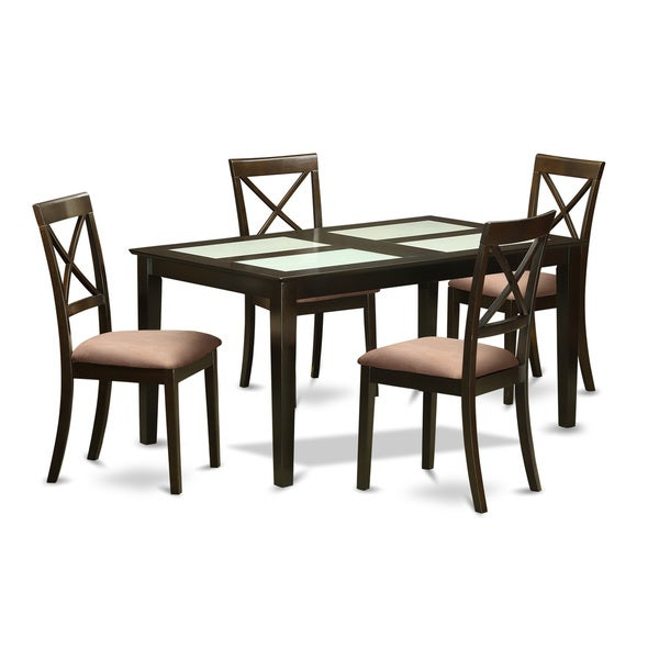 Black Glass Kitchen Table And Chairs: Shop Black Finish Rubberwood 5-piece Dining Room Set With