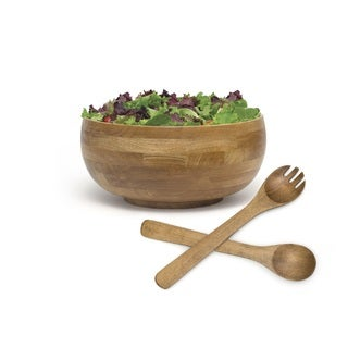 Lipper Oak Finish Footed Rice Bowl with Servers