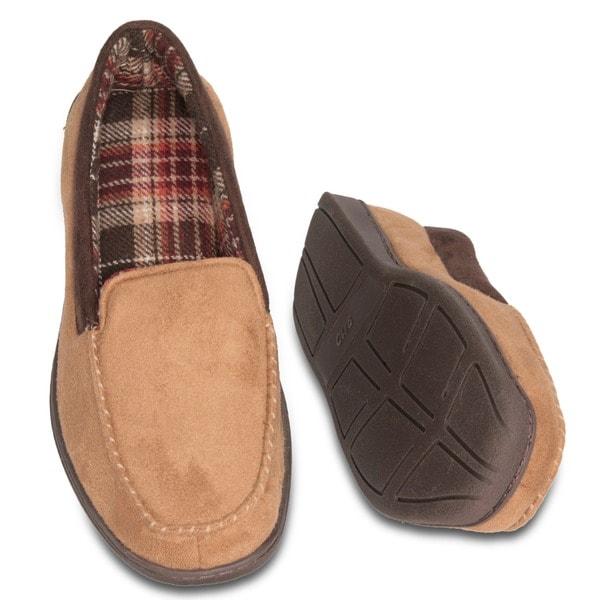 Men's Faux Suede Memory Foam Dress Slipper - Tartan Plaid Fleece Lining - Non-Marking Rubber Sole - Camel Brown