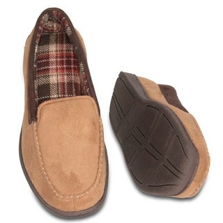 Men's Camel Suede Terry-lined Memory Foam Slippers (2 options available)