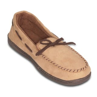 Men's Beige Suede Memory Foam Slipper with Terry Lining|https://ak1.ostkcdn.com/images/products/12028325/P18901969.jpg?impolicy=medium